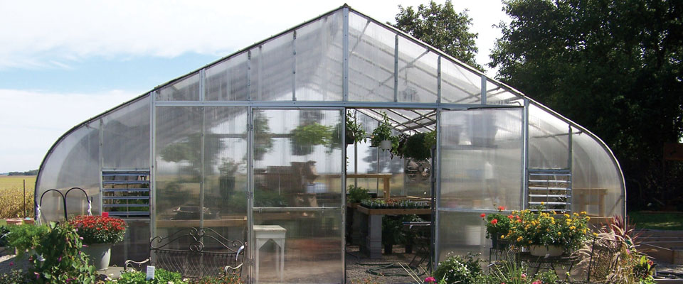 backyard greenhouse entrance